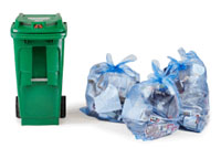 organics cart and recycling bags