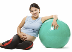 Pregnant lady with exercise ball