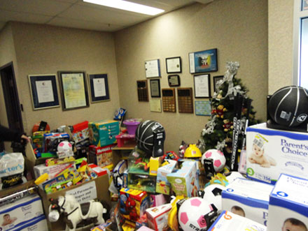 room filled with Christmas toy donations