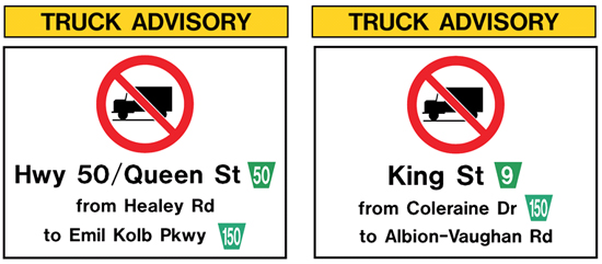 Truck Advisory signs